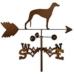 This weathervane is handmade of strong 14-gauge steel with a sealed ball bearing in the wind cups. The weathervane is coated with copper-colored powder coat paint, and features a Greyhound dog.