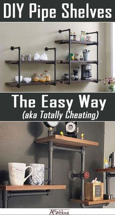 There's an easy way to get that DIY pipe shelves look. Some may call it cheating, I call it the easy way to get that DIY pipe shelves look. 10 Simple Industrial Shelving Designs For A Weekend Project Regal Industrial, Industrial Home Design, Industrial House, Industrial Style, Modern Industrial Decor, Modern Decor, Home Design Diy, Diy Home Decor, Design Ideas