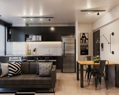 Integrated living room with a studio kitchen, kitchen with living ceramic . Studio Kitchen, Home Studio, Small Apartment Design, Small Apartments, Sala Grande, Sweet Home Alabama, Modern Architecture House, Trendy Home, Black Decor