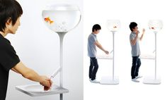 Yan Lu designed a tank that deprives a goldfish of life-giving water everytime you wash your hand, serving as a slightly macabre reminder to the effects of wasting water. Don't worry, the fish get's his water pumped back to him once you switch the tap off.