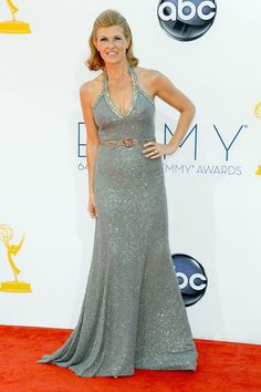 Connie Britton sparkled in a gray Andrew Gn halter dress.