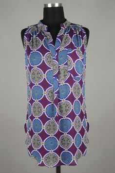 *** New Style *** Side Slit Drop Waist Chiffon Tank Blouse with High Collar Henley Neckline in Patterned Boho Inspired Print.