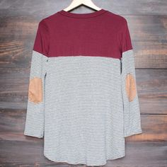 color block stripe long sleeve shirt with suede elbow patch + pocket (more colors) - shophearts - 8