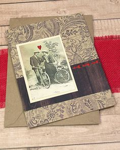 "Bikers In Love Greeting, Note Card, Romance, Bicycle, Bike, Biking, Vintage, Antique, Sweet, Old Fashioned, Valentine, Sepia Tone- 5"" x 6.5"" by PaperDahlsLLC on Etsy"