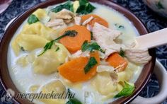 Krémes, csirkés tortellini leves recept Receptneked konyhájából - Receptneked.hu Tortellini, Soup, Cooking, Ethnic Recipes, Cuisine, Kitchen, Soup Appetizers, Brewing, Soups