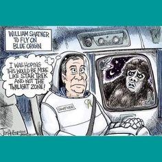 Nightmare At 20000 Feet, James T Kirk, Most Popular Cartoons, United Federation Of Planets, Space Tourism, William Shatner, Star Trek Tos, Uss Enterprise, Political Cartoons