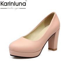 d33a2473f1e6 KARINLUNA New Small Big Size 32-43 European Style Round Toe Woman Shoes  Women Pumps
