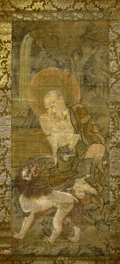 Painting, hanging scroll. Angaja, thirteenth of the sixteen arhats, seated on a rock, looking at lion beside him; waterfall in background. Ink and colours on silk. Kamakura Period (late)  - Japan