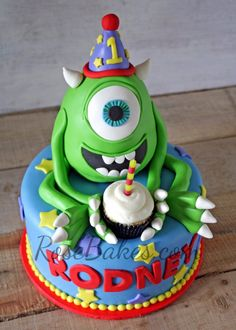 Mike Wazowski Monsters Inc. Cake - Rose Bakes
