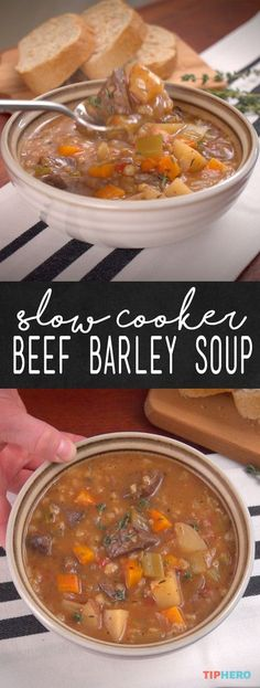 Crock Pot Beef Barley Soup Recipe If youve never cooked with barley before youre going to love it The healthy grain is superversatile with a pastalike consistency and ri. Crock Pot Slow Cooker, Crock Pot Cooking, Slow Cooker Recipes, Beef Recipes, Cooking Recipes, Recipies, Crock Pot Beef, Stone Soup Recipe Crock Pot, Recipes For Soup