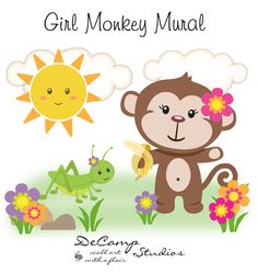 Girl Monkey Wall Mural Art Decal for baby jungle nursery or children's cute safari animals room decor. This adorable mural of a monkey eating a banana with his friend the cricket. This unique, one of a kind wall mural is high quality with bright vivid colors. Easy to install #decampstudios