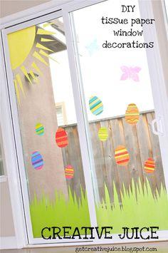 DIY Tissue Paper Window Decor using fabric starch.