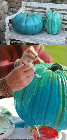 Learn how to paint the most beautiful turquoise pumpkins for autumn! Fall Pumpkins, Halloween Pumpkins, Halloween Crafts, Halloween Decorations, Fall Decorations, Halloween Stuff, Halloween Party, Thanksgiving Decorations, Happy Thanksgiving