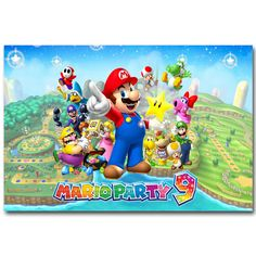 Super Mario Party 8 Art Silk Fabric Poster Print 13x20 20x30 inch Vedio Game Pictures for Living Room Wall Decoration 043 #Affiliate