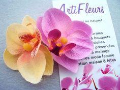 CLIP CORSAGE PINCE CHEVEUX FLEURON x2 ORCHIDEE 7cm fleurs artificielles satin
