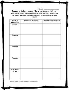 Worksheet Compound Machines Worksheet simple machines and worksheets on pinterest