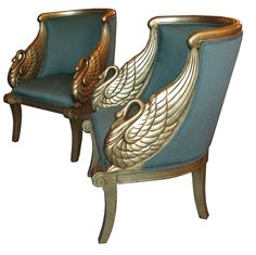 American Art Deco Neoclassical Silver Leaf Swan Arm Chairs $4900