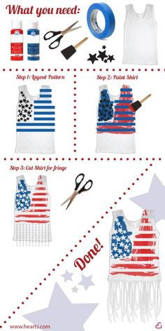 4th of July DIY American Flag Top How To. Minus the fringe for me, this would be cool to do.