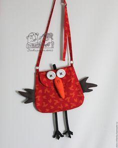 """Купить Сумочка """"Птичка"""" - ярко-красный, рисунок, сумочка, сумочка ручной работы, текстильная сумочка"""