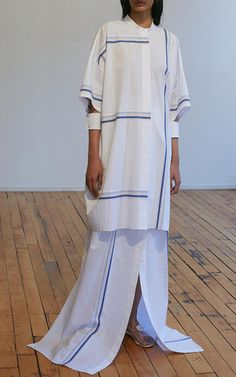 Stripe Poplin Shirt Dress by EDUN
