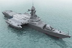 """Russia's """"Zelenodolsk Design Bureau"""" (ZPKB) developped a trimaran vessel concept that Russian Navy is ready to test as """"proof of concept"""" in a scale model. The concept is based on a civilian vessel designed by ZPKB, the Navy Aircraft Carrier, Naval, Bass Boat, Concept Ships, Super Yachts, Military Weapons, Navy Ships, Modern Warfare, Boat Plans"""