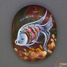 Unique Pendant Hand Painted fish  Natural Gemstone Necklace  ZL805335 #ZL #Pendant