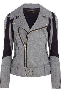 Junya Watanabe | Herringbone wool-blend biker jacket
