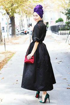 Ulyana wearing Ulyana Sergeenko skirt at Paris Fashion Week