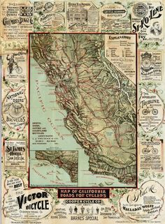 Blum's Bicycle Map of California Roads (1896)