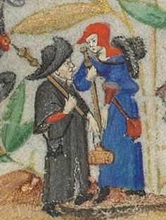 In Progress: Red Wool Pilgrim's Bag Medieval Life, Medieval Art, Medieval Clothing, Historical Clothing, Saint Esprit, Christian Images, Medieval Costume, Bnf, Effigy