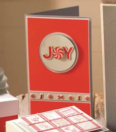 """This #DIY """"Joy"""" peppermint holiday card would be fun to make for friends and family! #fabulouslyfestive"""