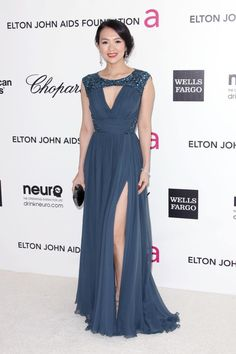 Ziyi Zhang in ELIE SAAB PreFall 2012 to the Chopard 20th Annual Elton John AIDS Foundation Academy Awards Viewing.