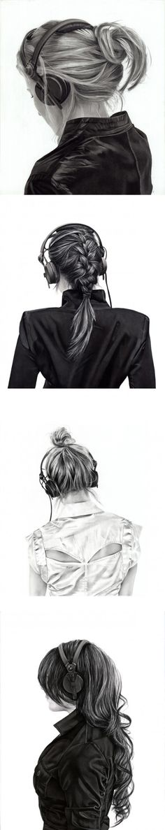 Charcoal drawings by Yanni Floros - Girls with Headphones