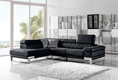 Modern Adjustable Headrests Black Leather Fabric Sectional Sofa