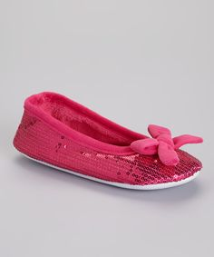 Look at this Fuchsia Bow Sequin Plush Ballet Slipper on #zulily today!