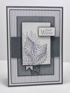 handmade card ... Freshly Made Sketches #108 ... shades of gray ... patterned papers ... sea shells ... lovely ...