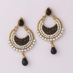 Black Diamond Drop Earring By Variation