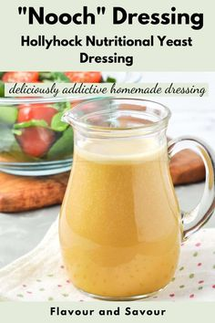 A deliciously addictive dressing for salads, grilled vegetables or cooked grains, this Hollyhock Nutritional Yeast Dressing (known fondly as Nooch dressing) is high in protein, minerals and B vitamins. #nooch #nutritonalyeast #dressing