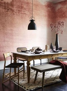 Rust Effect Textured Watercolour Dining Room Wall Paint - Home Decor Ideas