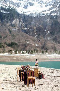 BLACK QUEEN   STYLED SHOOT Black Dress   Braut   Bride   Red   Mountains   Switzerland   Lake   Snow   Emotion