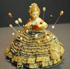 Antique Porcelain German Half Doll Pin Cushion with Original Ribbon Skirt. Vintage Sewing Notions, Antique Sewing Machines, Antique Dolls, Vintage Dolls, Sewing Box, Sewing Tools, Skirt Sewing, Sewing Kits, Half Dolls