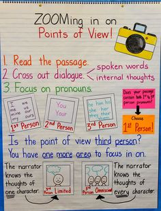 Teaching Point of View to upper elementary students with a simple, sequential approach! First person, second person, third person limited, and third person omniscient. Ela Anchor Charts, Reading Anchor Charts, 6th Grade Ela, Third Grade Reading, Fourth Grade, Teaching Language Arts, Teaching Writing, Writing Tips, Teaching Posters