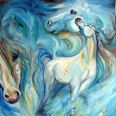 Blue Abstract Art | BLUE MYSTIC SKY EQUINE ABSTRACT - by Marcia Baldwin from Abstracts