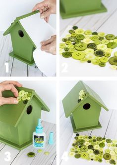 Decorate and paint a designer birdhouse. Craft idea for decorating a wood birdhouse with paint, fabric, and buttons. DIY Designer Birdhouse Melissa Bordelon melissatbordelo Gift Ideas Decorate and paint a designer birdhouse. Decorative Bird Houses, Bird Houses Painted, Bird Houses Diy, Painted Birdhouses, Birdhouse Craft, Birdhouse Designs, Birdhouse Decorating Ideas, Birdhouse Ideas, Unique Birdhouses