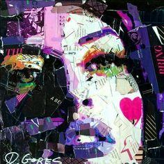 Artist Derek Gores   Female collage portrait. Collage art, magazine cutouts.