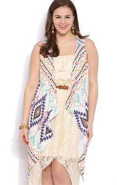 Deb Shops Plus Size Sleeveless Cozy with Multicolor Aztec Print $21.75