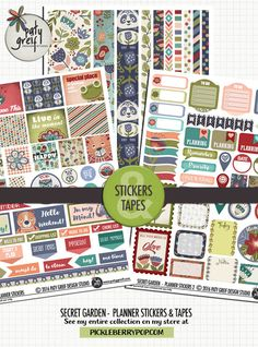 """**NEW** collection """"Secret Garden"""" Here is the Planner Stickers & Tapes Pack… Printable Planner, Planner Stickers, Printables, Pocket Letters, Happy Mail, Snail Mail, Project Life, Digital Scrapbooking, Planners"""