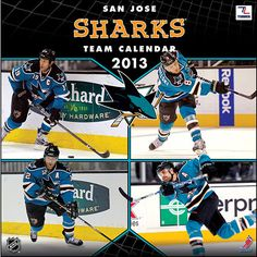 San Jose Sharks Wall Calendar: With the 2013 San Jose Sharks wall calendar, your favorite NHL team takes to the ice all year long. Loaded with vibrant action-packed images featuring player bios, this must-have NHL calendar also presents NHL trivia and noteworthy historical dates every month.  $15.99  http://calendars.com/Hockey/San-Jose-Sharks-2013-Wall-Calendar/prod201300001222/?categoryId=cat00513=cat00513#