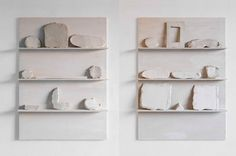Paolo Icaro Window Show, 1974 Eighteen plaster measures on two white-washed wooden shelves Each shelf: 90 x 70 x 11 cm / 35 3/8 x 27 1/2 x 4 3/8 ins