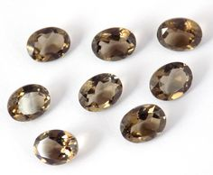 5 Pieces Lot 6x8mm Oval Natural Smoky Quartz Normal Cut Gemstone,Jewelry Making Gemstone,Approx 5 to 7Cts,Brilliant Cut by UGCHONGKONG on Etsy